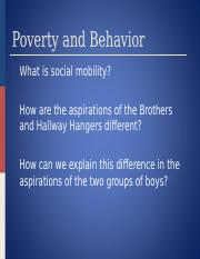 Lecture 18 Poverty and Social Mobility