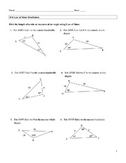 Worksheet Law Of Sines Worksheet chapter 8 6 worksheet law of sines 1 answer