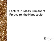 Measurement of Forces on the Nanoscale