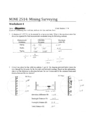 MINE 2514 WorkSheet 4