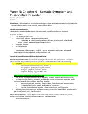 Week 5 Chapter 6 - Somatic Symptom and Dissociative Disorder.doc