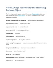 Verbs Always Followed by Sur Preceding Indirect Object