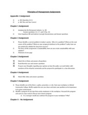Principles of Management Assignments