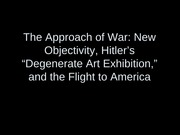 Degenerate art and New Objectivity