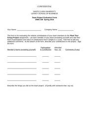Team Evaluation Form