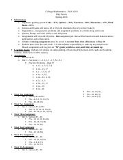 College Mathematics - Day Seven Outline