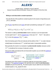 writing an acid dissociation constant expression