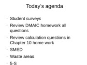 Slides on DMAIC HW and Calculations from Chapter 10