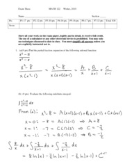 Math122-2009 Practice Exam 3 with-solutions