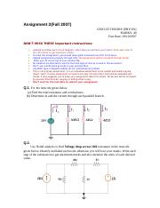 Circuit Theory - PHY301 Fall 2007 Assignment 02