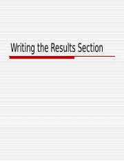 WritingtheResultsSection.ppt