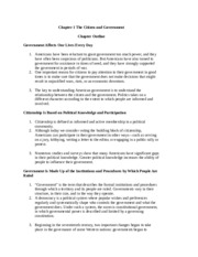 Chapter 1 - The Citizens and Government Outline