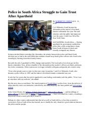 Police in South Africa Struggle to Gain Trust After Apartheid (chapters 1-3).docx