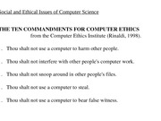 Social and Ethical Issues of Computer Science