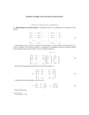MATRIX ALGEBRA AND SYSTEMS OF EQUATIONS