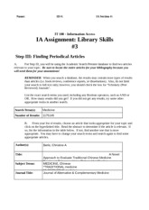 Library Skills Assignment #3