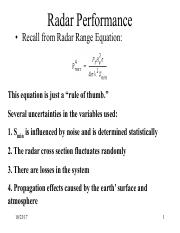 Radar Performance pdf - Radar Performance Recall from Radar Range
