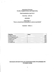 APS105 20131 Official Exam