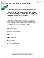 Relationship between employee involvement and lean manufacturing and its effect on performance in a