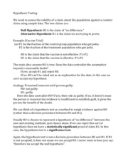Hypothesis Testing study guide
