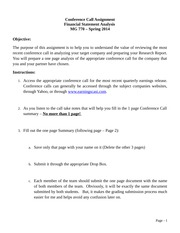 Conference Call Summary Report assignment - Spring 2014(1) (1) - Kopya