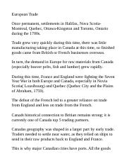 European-Canadian Trade Notes