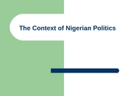 Context of Nigerian Politics