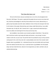 english honors eng sharon high page course hero 1 pages memorial day essay