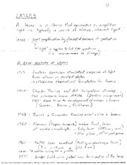 PHYSICS 362 Lasers Notes