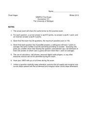 econ 101 sample exam Economics 101 multiple choice questions for final examination miller please  do not write on this examination form 1 which of the following.