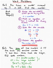 Simple Quadratic Wordproblem Notes