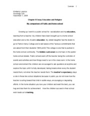 Chapter 8 Essay Education and Religion