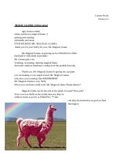 free verse poem: magical llama (Recovered)