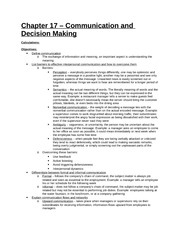 Study Guide - Part 5 - Chapter 17 - Communication and Decision Making