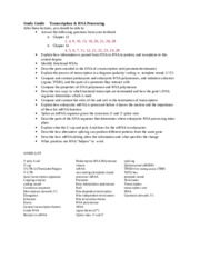 4 Study Guide - Transcription and Processing