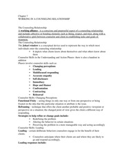 Chapter 7 Notes - Working in a Counseling Relationship