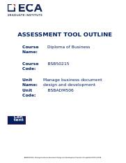 BSBADM506 Manage Business Document Design and Development - Assessment Tool NY.docx
