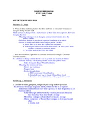 Consumer Behavior Study Guide for Exam 2
