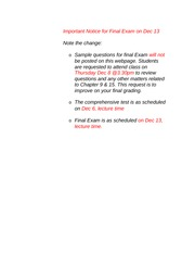Important Notice for Final Exam on Dec 13