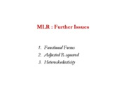 mlr-further issues