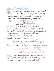 NOTES for Math-250 Sect.-6.2 Orthogonal Sets