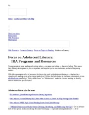 International Reading Association  Focus on Adolescent Literacy
