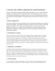 5 reasons why CRM is important for small businesses.docx