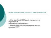 GLOBALISATION OF HRM