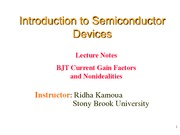 Lecture 13 - BJT Current and Gain Factors and Nonidealities