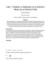 Deflection of an Electron Beam in an Electric Field