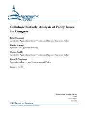 Cellulosic Biofuels Analysis of Policy Issues