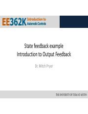 Lecture 12 - Output Feedback Part 1