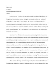 Constance Kamii Reflection paper