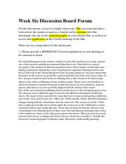 Week Six Discussion Board Forum.docx